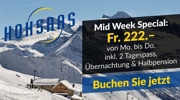 Spezialangebot Übernachten Skigebiet Hohsaas